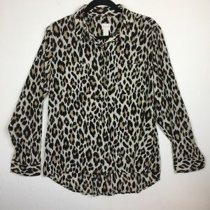 Chico's Animal Print Long Sleeve Button Up Top